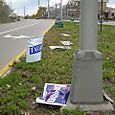 Election Day 2007.....amazingly the wind blew down only the Repbulicans' campaign signs
